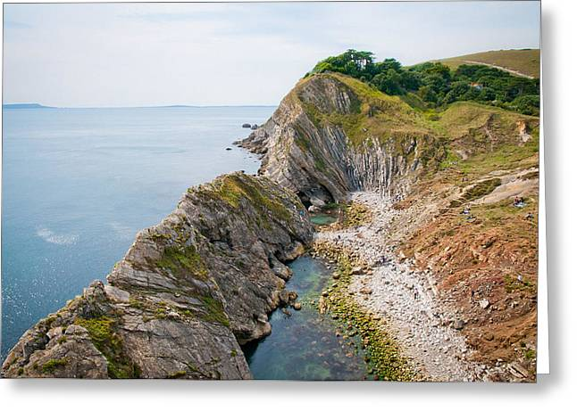 West Lulworth Lagoon The Natural Lagoon Behind The Jurassic Cliffs West Of Lulworth Cove Dorset Greeting Card by Andy Smy