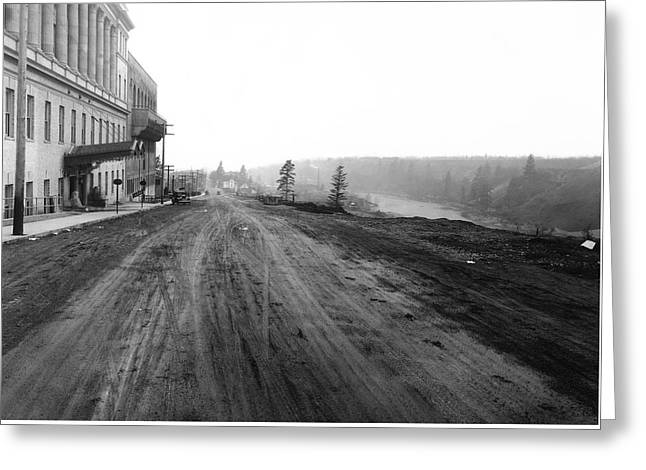 West Main Avenue - Peaceful Valley - Spokane 1918 Greeting Card by Daniel Hagerman