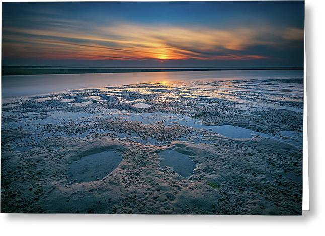 West Meadow Beach Afterglow Greeting Card