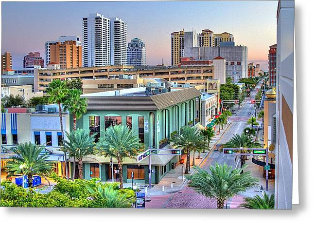 Happy Hour Greeting Cards - West Palm at Twilight Greeting Card by Debra and Dave Vanderlaan