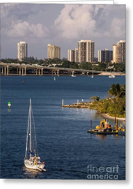 West Palm Beach Skyline 2 Greeting Card by Zina Stromberg