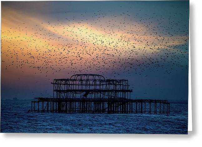 Greeting Card featuring the photograph West Pier Murmuration by Chris Lord