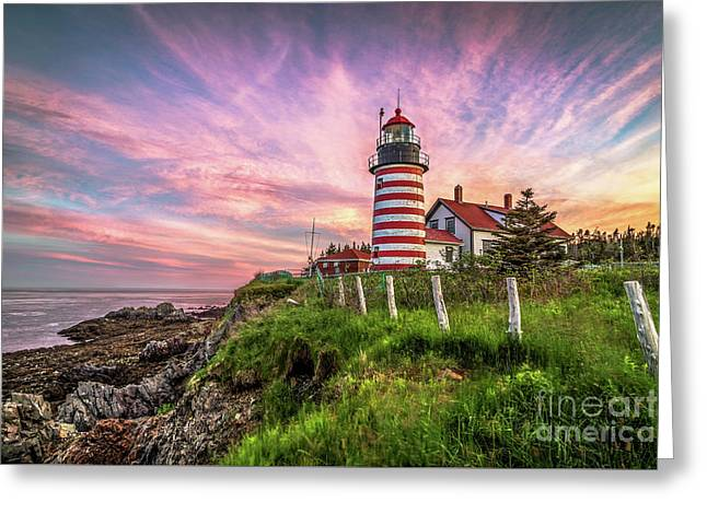West Quoddy Head Light Greeting Card by Benjamin Williamson