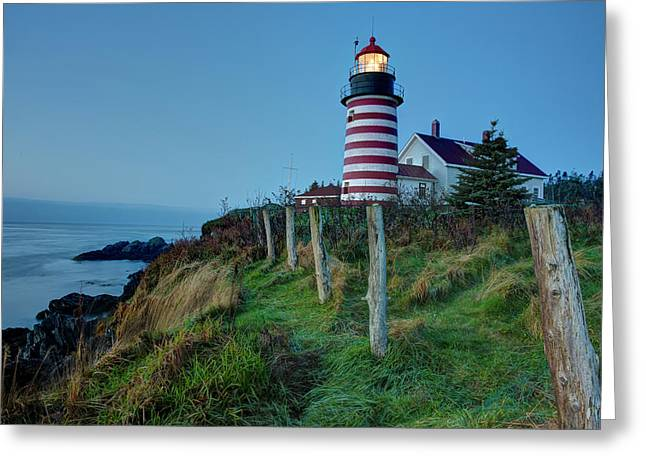 West Quoddy Head Light Greeting Card