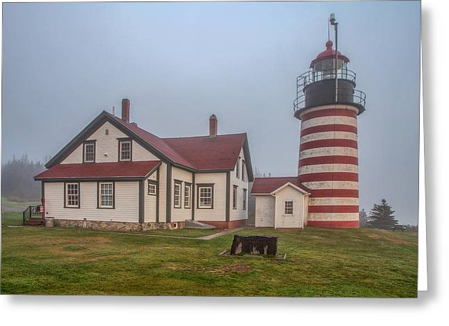West Quoddy Head Light Greeting Card by Tom Weisbrook