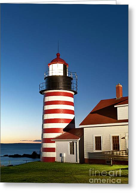 West Quoddy Head Lighthouse Maine Greeting Card by John Greim