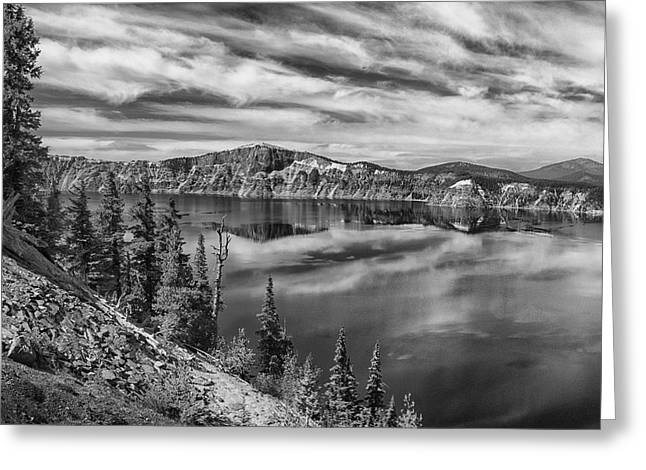 West Rim Of Crater Lake B W Greeting Card by Frank Wilson