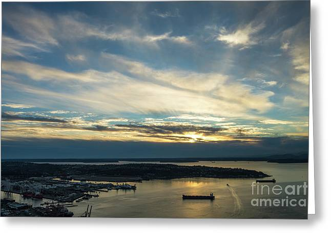 West Seattle Water Taxi At Sunset Greeting Card