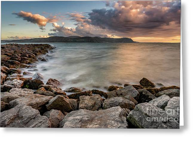 West Shore Sunset Greeting Card by Adrian Evans