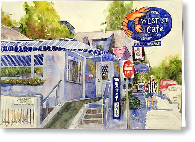 West Street Cafe Greeting Card by Shirley Sykes Bracken