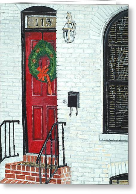 West Street Christmas Greeting Card by John Schuller