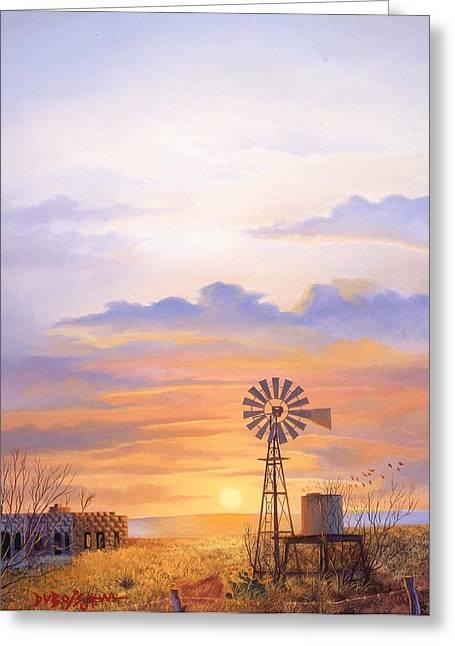 West Texas Sundown Greeting Card by Howard Dubois