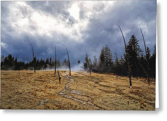 Greeting Card featuring the photograph West Thumb Geyser Basin   by Lars Lentz