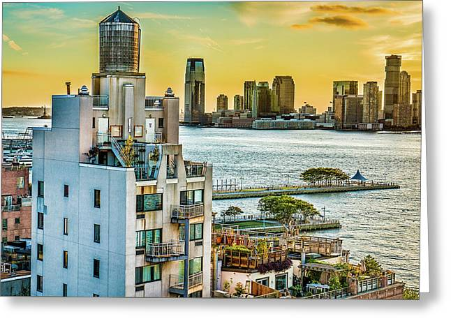 Greeting Card featuring the photograph West Village To Jersey City Sunset by Chris Lord