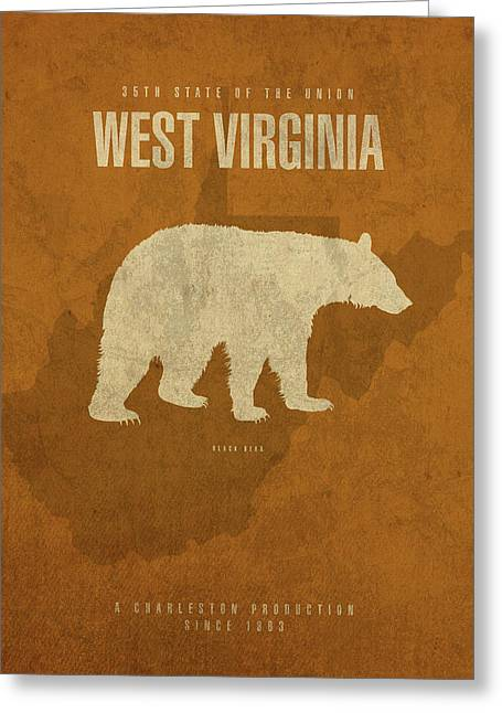 West Virginia State Facts Minimalist Movie Poster Art Greeting Card by Design Turnpike