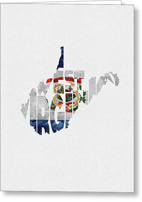 West Virginia Typographic Map Flag Greeting Card