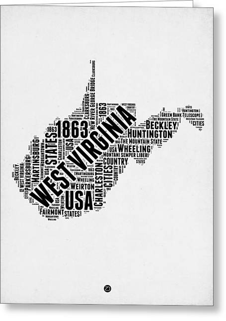 West Virginia Word Cloud Map 2 Greeting Card by Naxart Studio