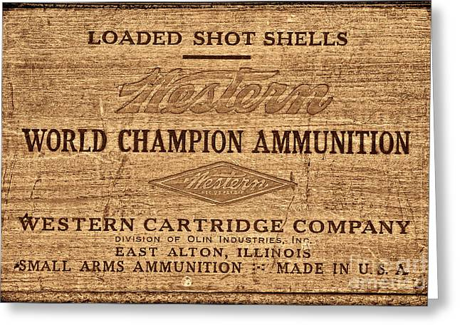 Western Ammunition Box Greeting Card by American West Legend By Olivier Le Queinec