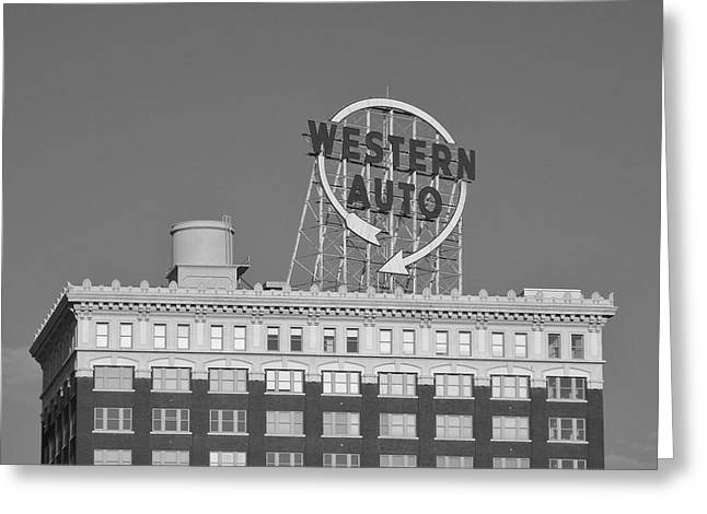 Western Auto Building Of Kansas City Missouri Bw Greeting Card