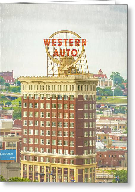 Western Auto Greeting Card by Pamela Williams