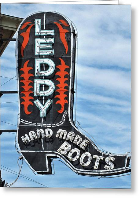 Western Boot Sign Greeting Card by David and Carol Kelly