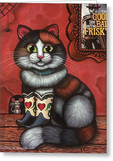 Western Boots Cat Painting Greeting Card by Victoria De Almeida