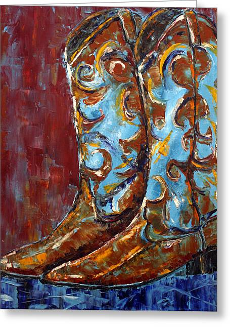 Greeting Card featuring the painting Western Boots by Jennifer Godshalk