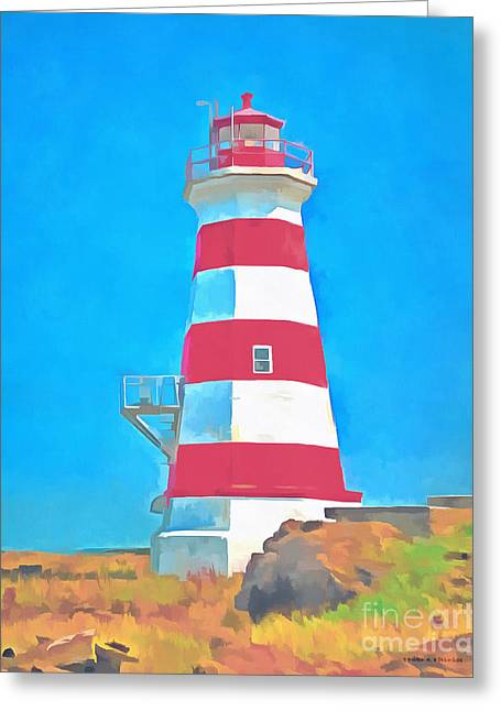 Western Brier Island Lighthouse Painting Greeting Card by Edward Fielding