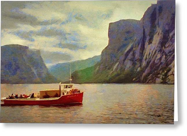 Greeting Card featuring the painting Western Brook Pond by Jeff Kolker