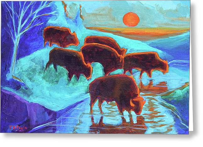 Western Buffalo Art Six Bison At Sunset Turquoise Painting Bertram Poole Greeting Card