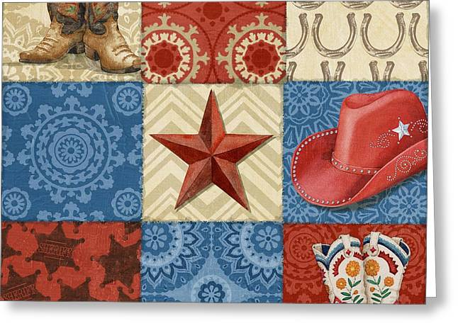 Western Chic Square II Greeting Card by Paul Brent