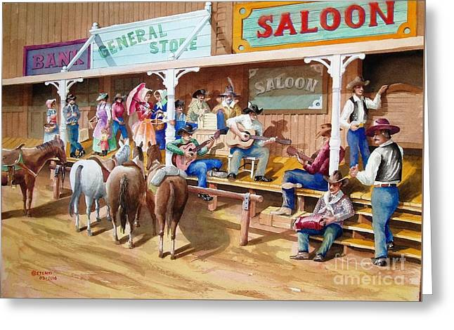 Western Jam Session Greeting Card by Charles Hetenyi