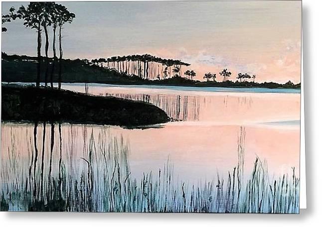 Western Lake At Sunset Greeting Card by Pamela O'Brien