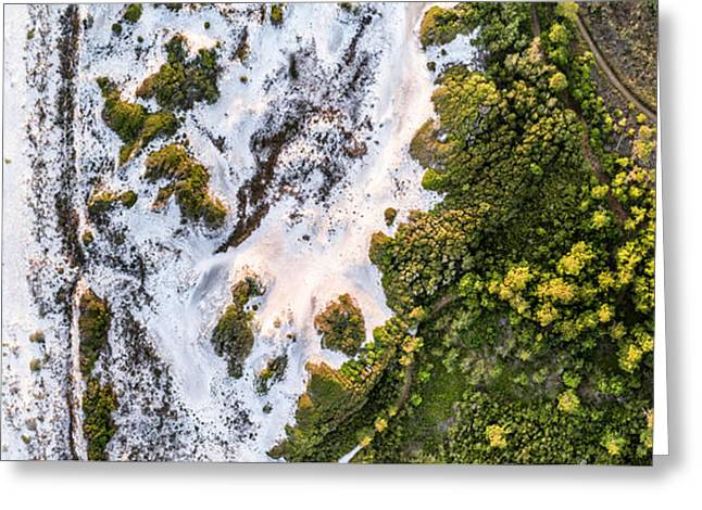 Western Lake Meets The Gulf At Graytom Beach State Park Aerial Greeting Card