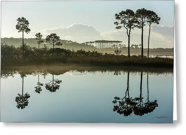 Western Lake Misty Morning Greeting Card