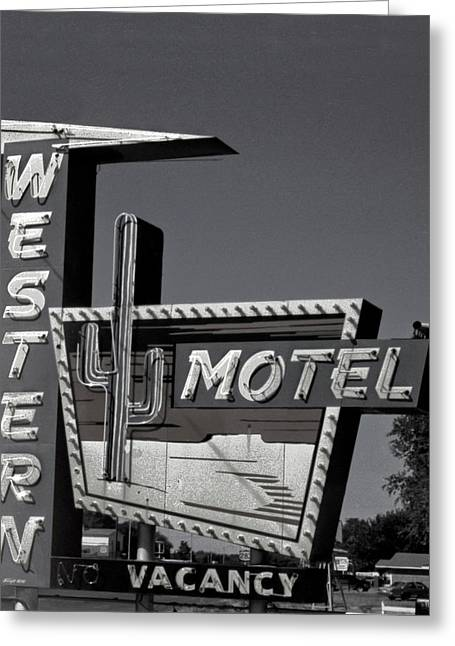 Greeting Card featuring the photograph Western Motel In Black And White by Matthew Bamberg