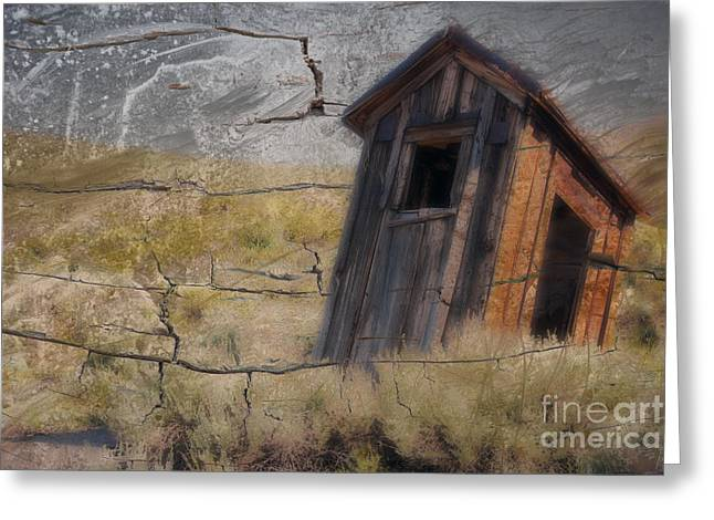Western Outhouse Greeting Card by Ronald Hoggard