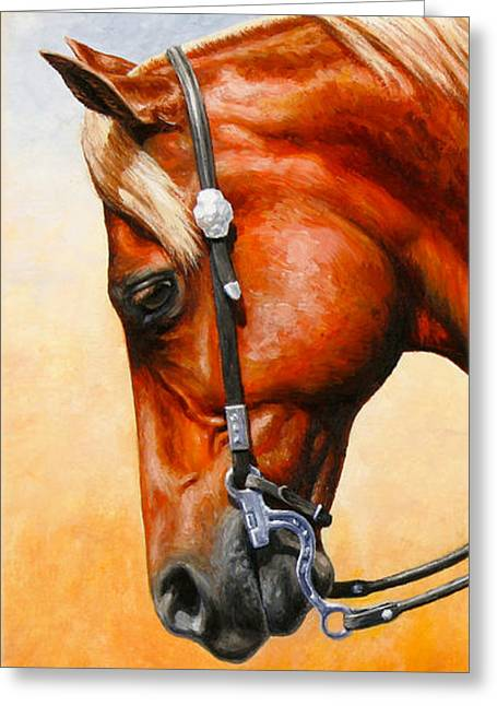 Quarter Horses Paintings Greeting Cards - Western Pleasure Horse Phone Case Greeting Card by Crista Forest