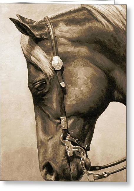 Western Pleasure Horse Phone Case In Sepia Greeting Card