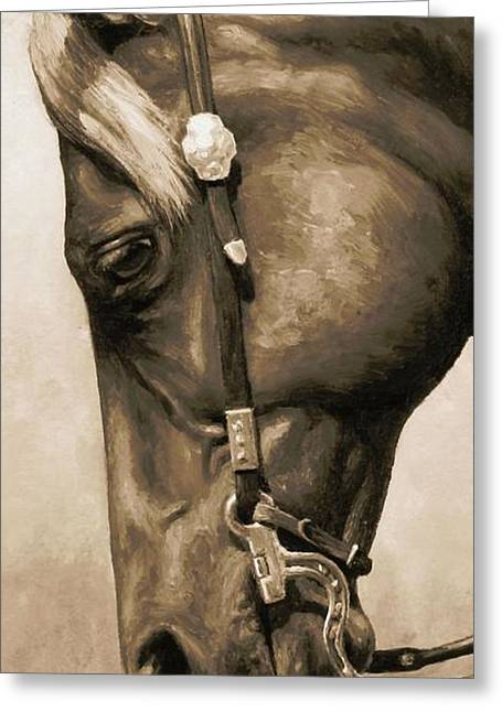 Quarter Horses Paintings Greeting Cards - Western Pleasure Horse Phone Case in Sepia Greeting Card by Crista Forest