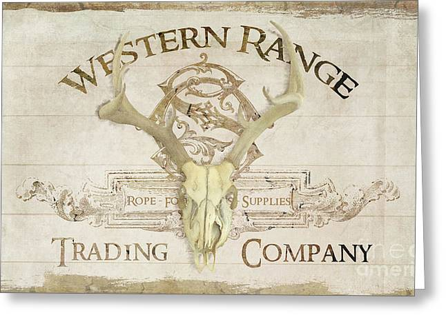 Greeting Card featuring the painting Western Range 3 Old West Deer Skull Wooden Sign Trading Company by Audrey Jeanne Roberts