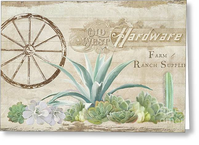 Greeting Card featuring the painting Western Range 4 Old West Desert Cactus Farm Ranch  Wooden Sign Hardware by Audrey Jeanne Roberts