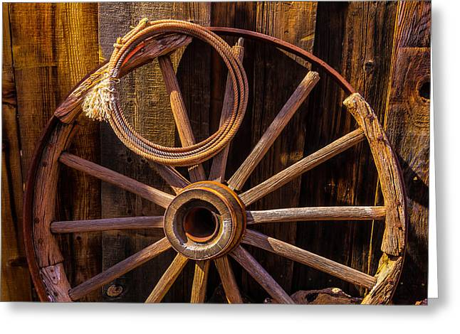 Western Rope And Wooden Wheel Greeting Card by Garry Gay