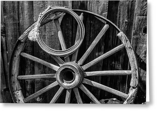 Western Rope And Wooden Wheel In Black And White Greeting Card by Garry Gay
