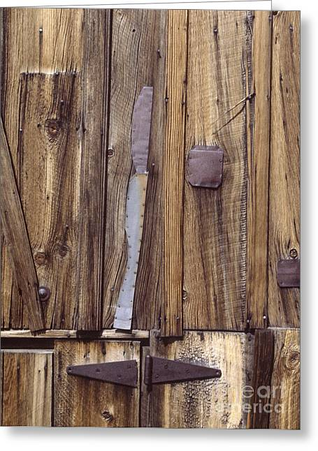 western rural abstract photography - One-Eyed Barn Door Greeting Card