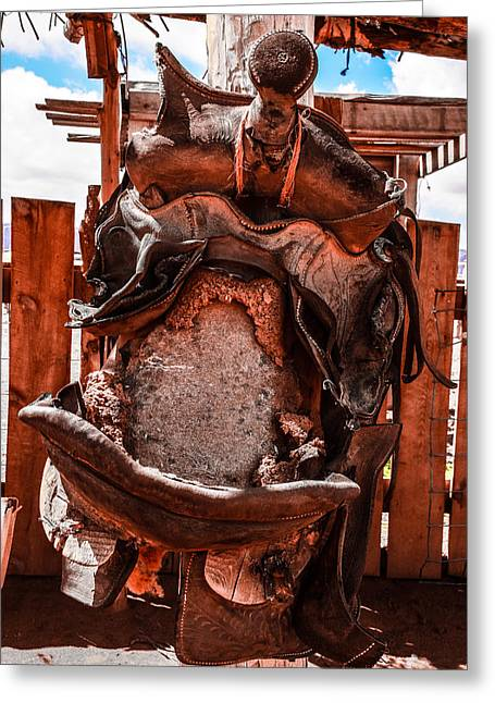 Greeting Card featuring the photograph Western Saddle by Dany Lison