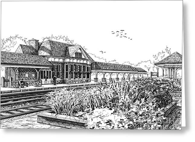 Western Springs Train Station Greeting Card