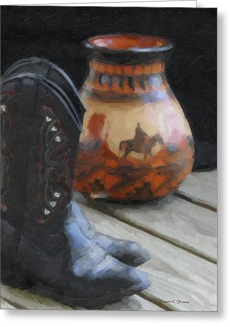 Western Still Life Greeting Card by Kenny Francis