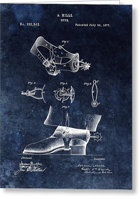 Western Style Cowboy Spurs Patent Greeting Card by Dan Sproul