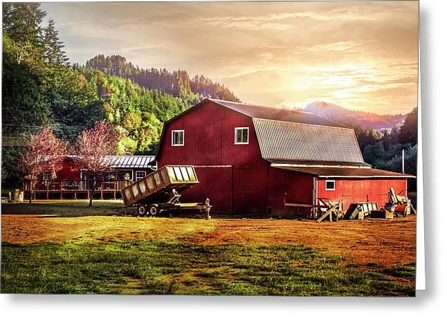 Western Sunset Greeting Card by Debra and Dave Vanderlaan